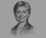 Sketch of Hillary Clinton, US Secretary of State