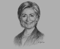 Sketch of Hillary Clinton, US Secretary of State, on regional entrepreneurship