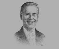 Sketch of  Joseph R Biden, US Vice-President, on Mongolia's democratic reforms
