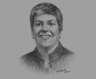 Sketch of Janet Napolitano, US Secretary of Homeland Security