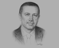 Sketch of Recep Tayyip Erdoğan on the government's new investment incentives programme