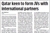 Qatar keen to develop private sector, seeking self-sufficiency and promoting JVs