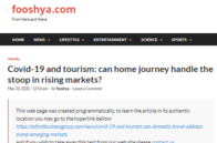 Fooshya.com: Covid-19 and Tourism: Can domestic travel address the slump in emerging markets?