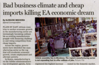 Bad Business climate and cheap imports killing EA economic dream