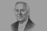 Sketch of <p>Othman Benjelloun, President, BMCE Bank</p>