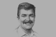 Sketch of <p>Geoff Cundle, Managing Director, Steamships Trading Company</p>