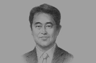 Sketch of <p>Takao Omori, CEO, Portek International</p>