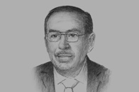Sketch of <p>Hatem Al Halawani, Minister of Trade and Industry</p>