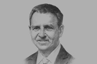 Sketch of <p>Ken Marnoch, Managing Director, Brunei Shell Petroleum</p>