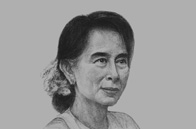 Sketch of <p>Daw Aung San Suu Kyi, Chairperson, National League for Democracy</p>