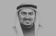 Sketch of <p> Abdullah Saleh Mubarak Al Khulaifi, Minister of Labour and Social Affairs</p>