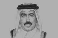 Sketch of <p>Jassim Saif Ahmed Al Sulaiti, Minister of Transport</p>