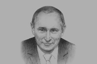 Sketch of <p>Vladimir Putin, President of Russia, on improving economic and political ties</p>