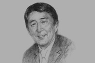 Sketch of <p>Shinzo Abe, Prime Minister of Japan, on international cooperation</p>