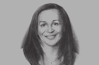 Sketch of <p>Madeleine Berre, Former Minister of SMEs, Handcrafts, Tourism and Services</p>
