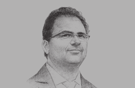 Sketch of <p>Zied Ladhari, Tunisian Minister of Industry</p>