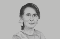 Sketch of <p>Daw Aung San Suu Kyi, State Counsellor</p>
