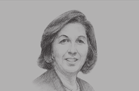 Sketch of <p>Lamia Boujnah Zribi, Former Minister of Finance</p>