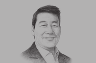 Sketch of <p>Bernie H Liu, Chairman and CEO, Golden ABC</p>
