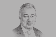 Sketch of <p>Malik Samarawickrama, Minister of Development Strategies and International Trade</p>