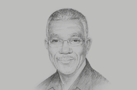 Sketch of <p> David Granger, President of the Cooperative Republic of Guyana</p>