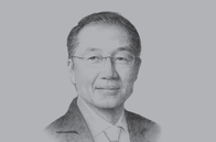 Sketch of <p>im Yong Kim, President, World Bank Group</p>