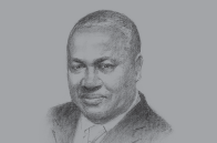 Sketch of <p>President John Dramani Mahama, on sustaining development</p>