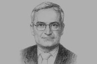 Sketch of  Umayya Toukan, Minister of Finance