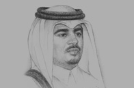 Sketch of Abdulla bin Khalid Al Qahtani, Minister of Health, and Secretary-General, Supreme Council of Health (SCH)