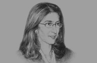 Sketch of Amina Benkhadra, General Director, National Hydrocarbons and Mining Office (ONHYM)
