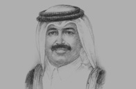 Sketch of Mohamed bin Saleh Al Sada, Minister of Energy and Industry