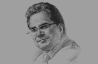 Sketch of Javed Ahmad, Managing Director, Bank Islam Brunei Darussalam (BIBD)