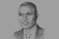 Sketch of Magloire Ngambia, Minister of Investment Promotion, Public Works, Transport, Housing and Tourism