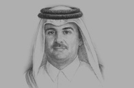 Sketch of Sheikh Tamim bin Hamad Al Thani, Emir of Qatar