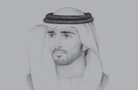 Sketch of <p>Sheikh Hamdan bin Mohammed bin Rashid Al Maktoum, Crown Prince of Dubai and Chairman of the Dubai Executive Council</p>