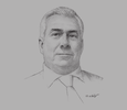 Sketch of Peter Young, Director, Oman Logistics Centre