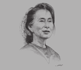 Sketch of Daw Aung San Suu Kyi, Chairperson, National League for Democracy (NLD)
