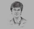 Sketch of Vicky Bowman, Director, Myanmar Centre for Responsible Business (MCRB)