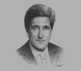 Sketch of John Kerry, US Secretary of State