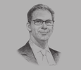 Sketch of Tobias Ellwood, MP and Minister for the Middle East and North Africa, UK Foreign and Commonwealth Office