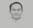Sketch of Dr Myint Htwe, Union Minister, Ministry of Health and Sports