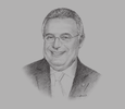 Sketch of Amine Moukarzel, President, Golden Tulip Hotels and Resorts, MENA Region