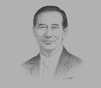 Sketch of Peter Wong, Deputy Chairman and Chief Executive, HSBC