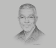 Sketch of  David Granger, President of the Cooperative Republic of Guyana