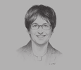 Sketch of Brigitte Zypries, Minister for Economic Affairs and Energy of Germany