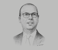 Sketch of Angelino Alfano, Minister of Foreign Affairs of Italy