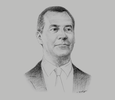 Sketch of Dmitry Medvedev, Prime Minister of Russia