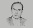 Sketch of Mokhtar Hasbellaoui, Minister of Health, Population and Hospital Reform