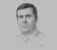 Sketch of Rabah Guessoum, CEO, Algerian Industrial Cement Group (Groupe Industriel des Ciments d'Algérie, GICA)