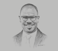 Sketch of Dr Elikem Tamaklo, Managing Director, Nyaho Medical Centre